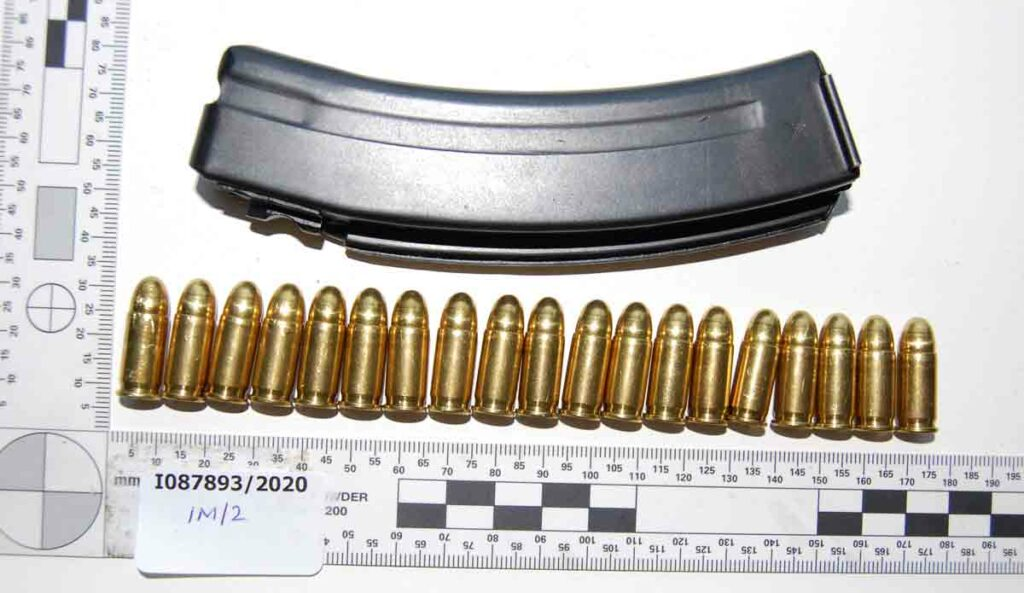 police image of magazine and ammunition