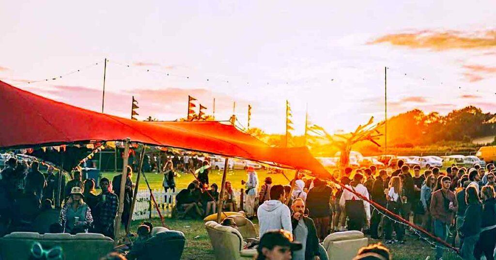 sunset at music festival