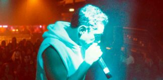 rapper on stage in film
