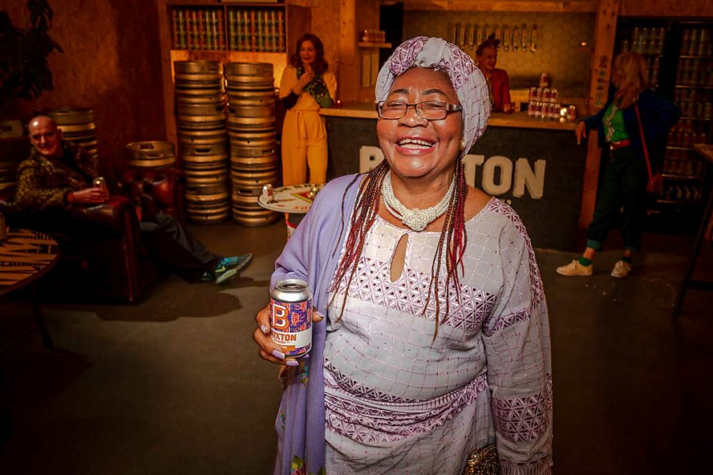 woman with can of beer