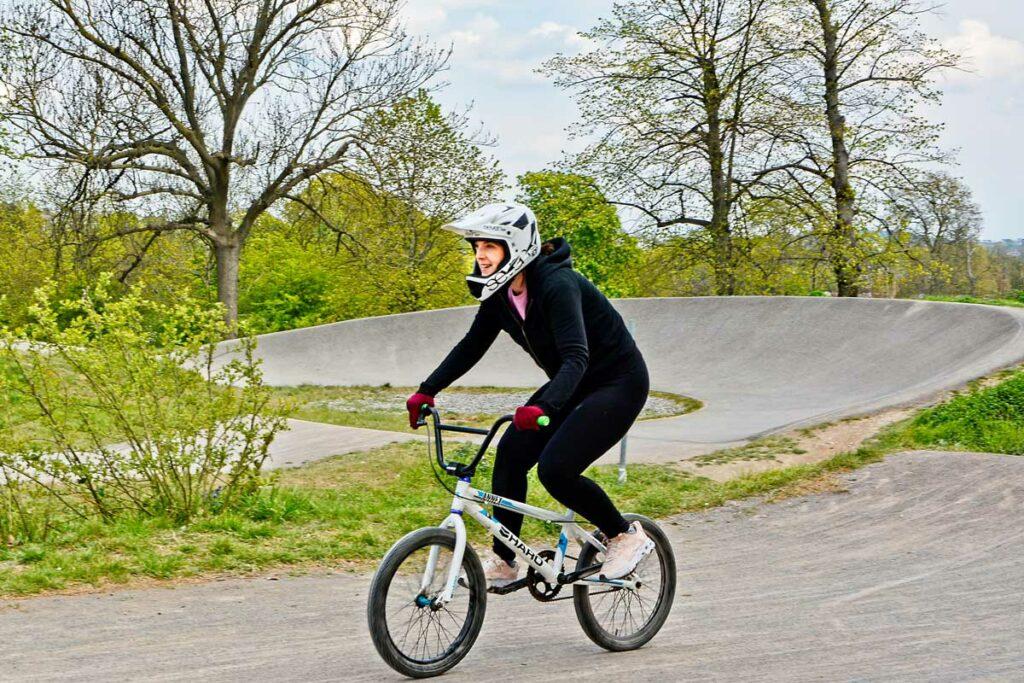 woman on BMX bike