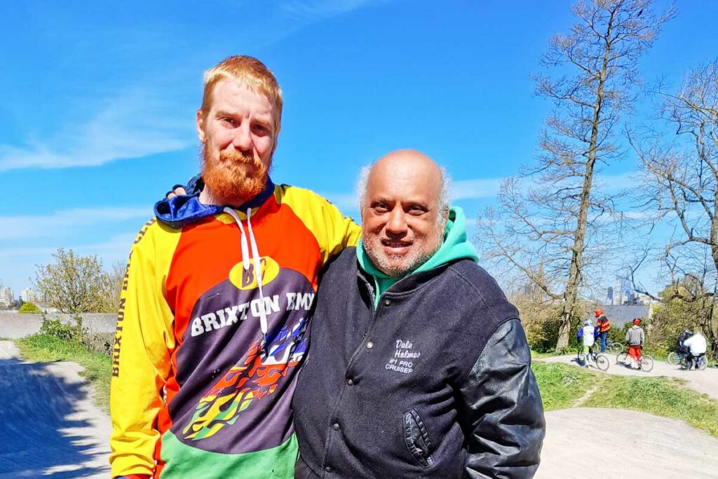 two men at BMX track