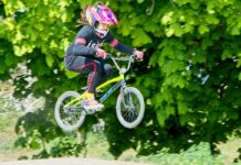 young BMX rider airborne