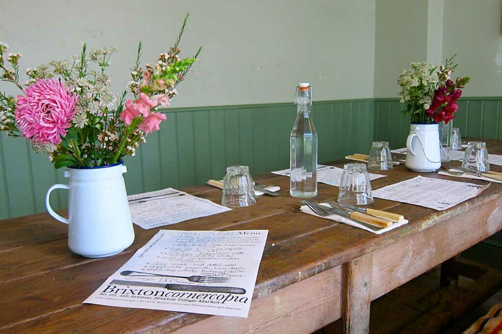 restaurant table with menu