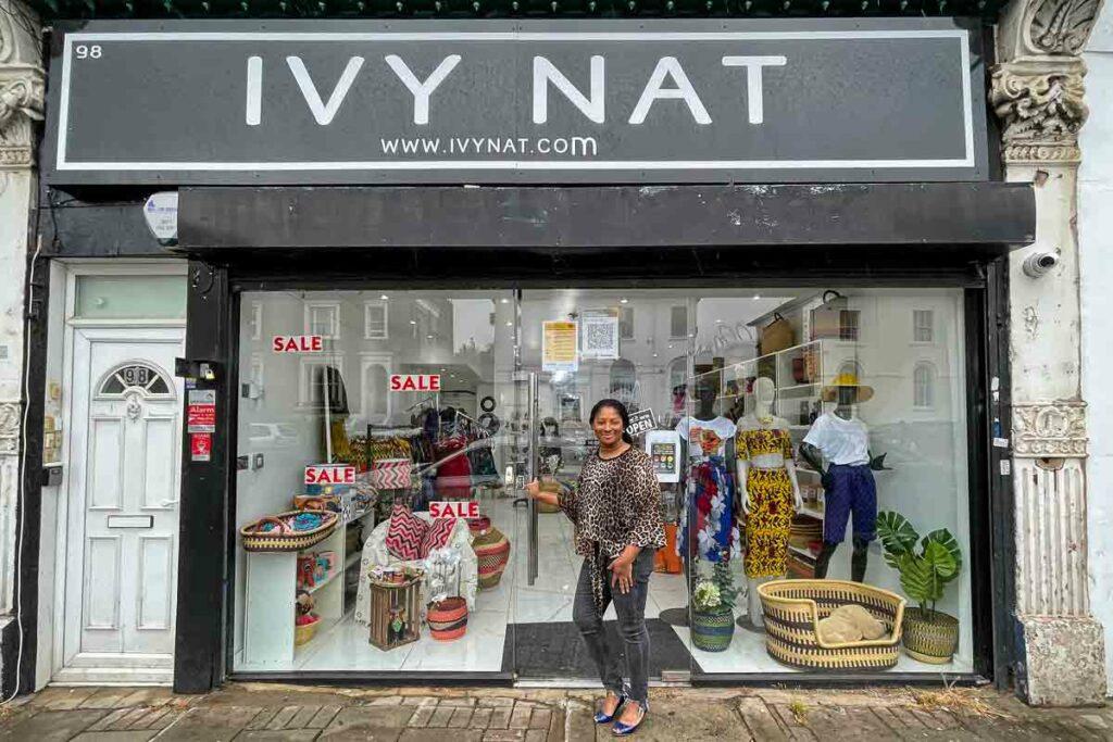 woman outside shopfront