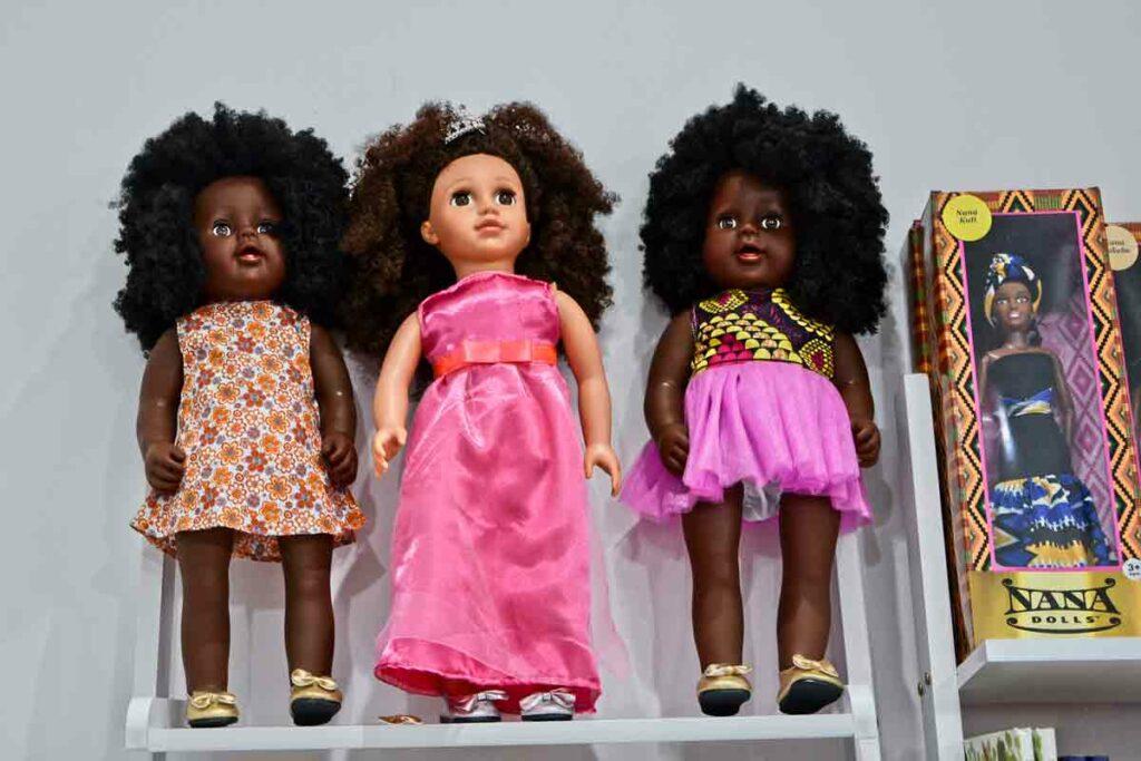 African dolls on shelf