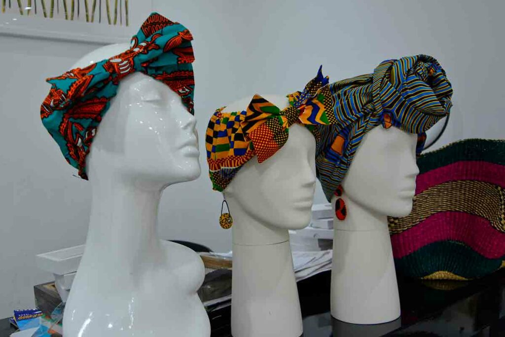 display heads with African headdresses
