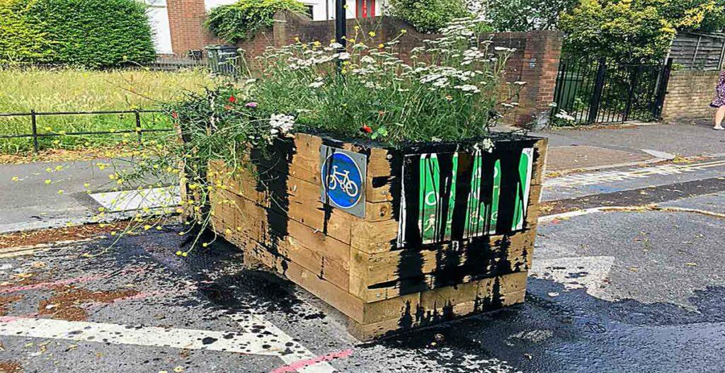 vandalised planter