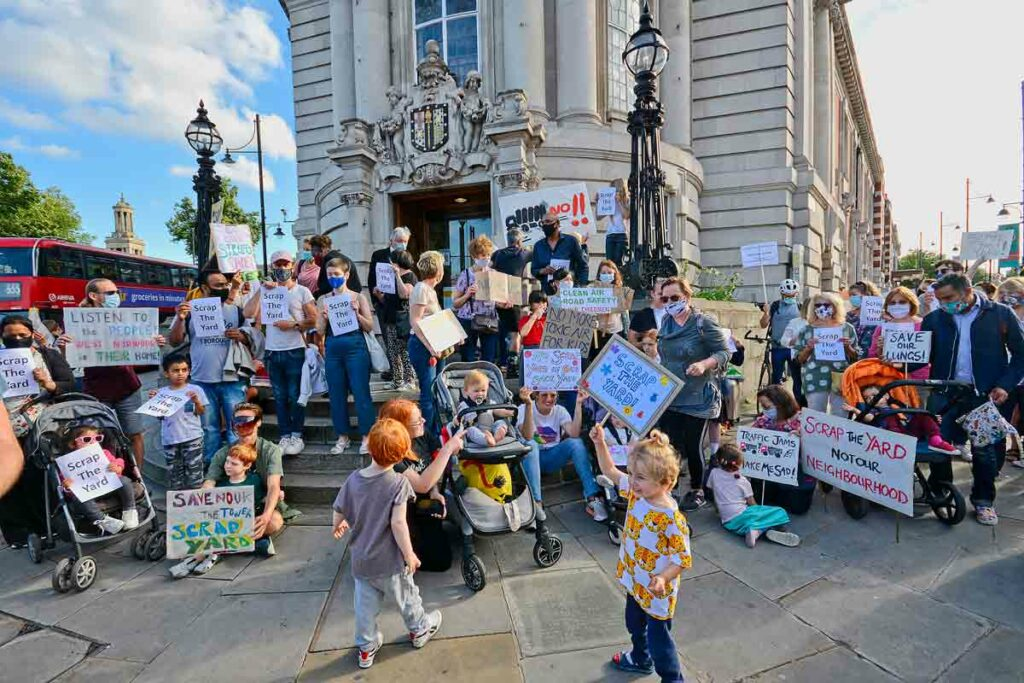 protest on steps of official building