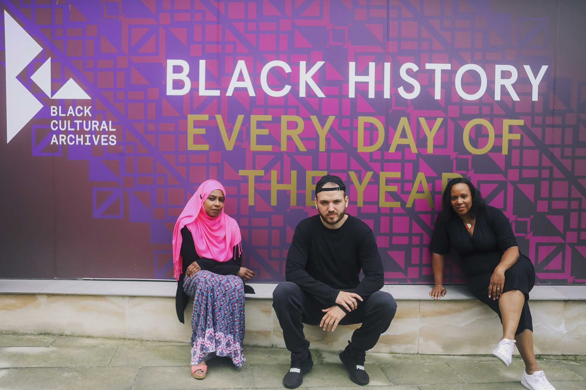 The Poetic Relief Fund organisers outside Black Cultural Archive