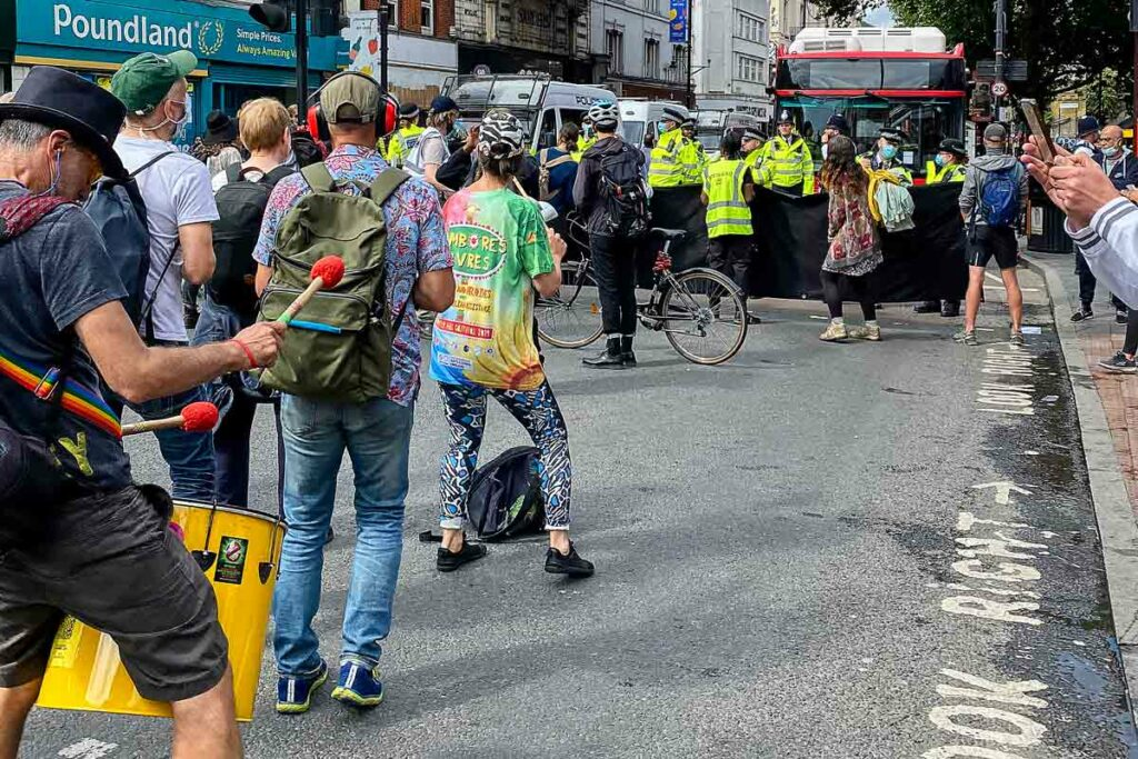 protesters block road