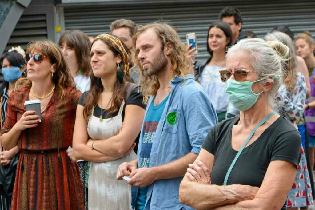 people at an open air rally
