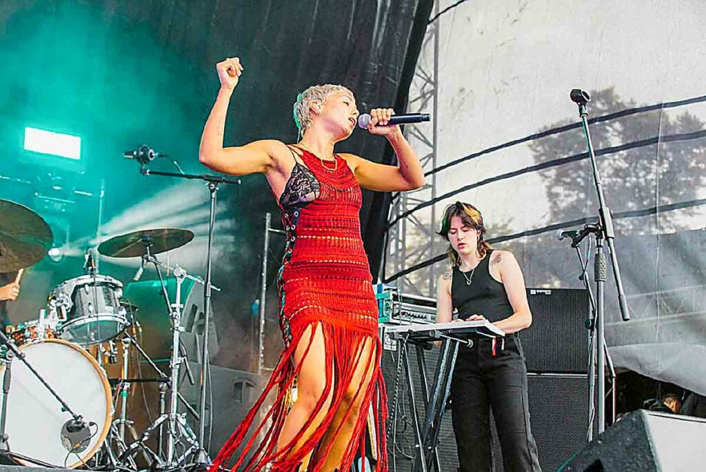 female singer on open air stage