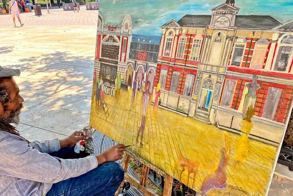 artist paining in open air