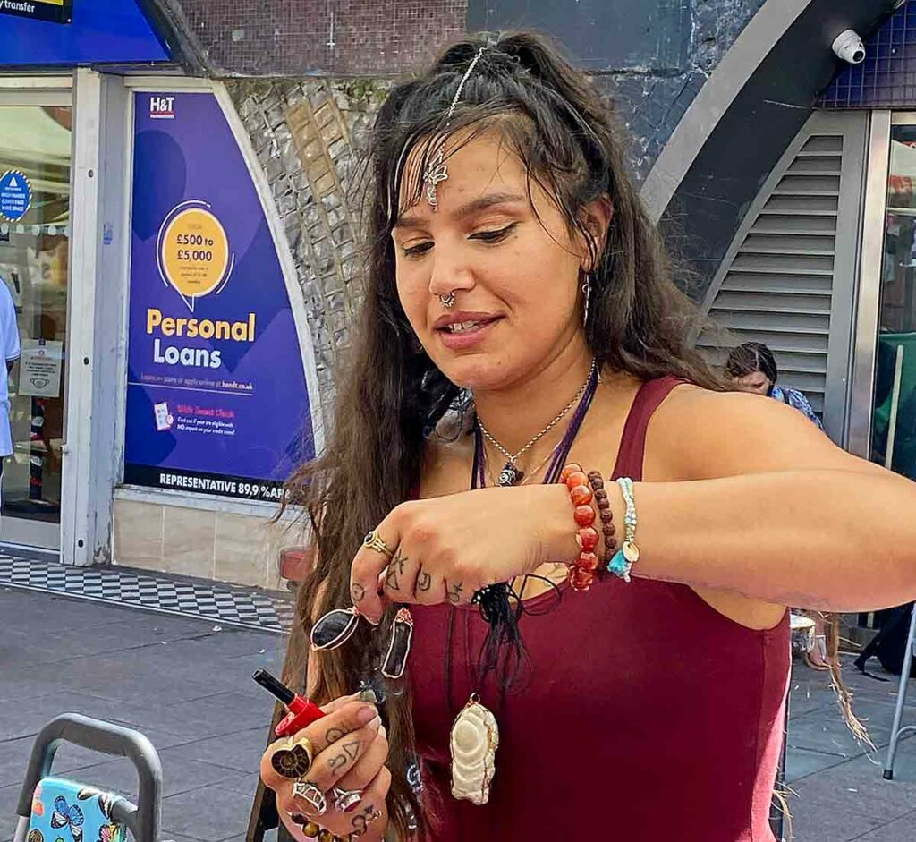 woman with crystal jewellery