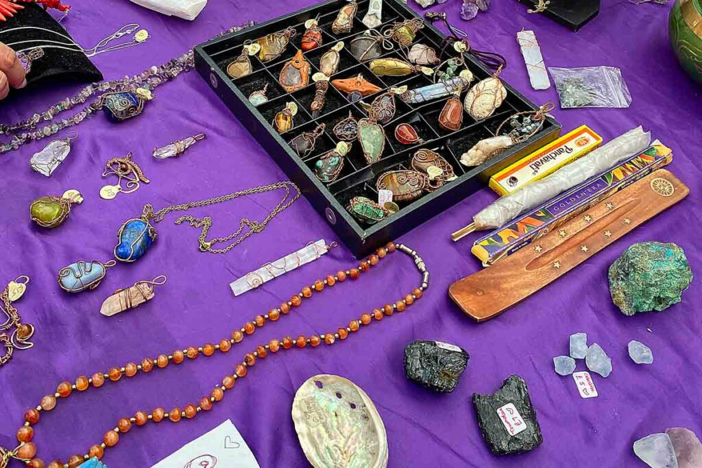 crystals and jewellery on market stall