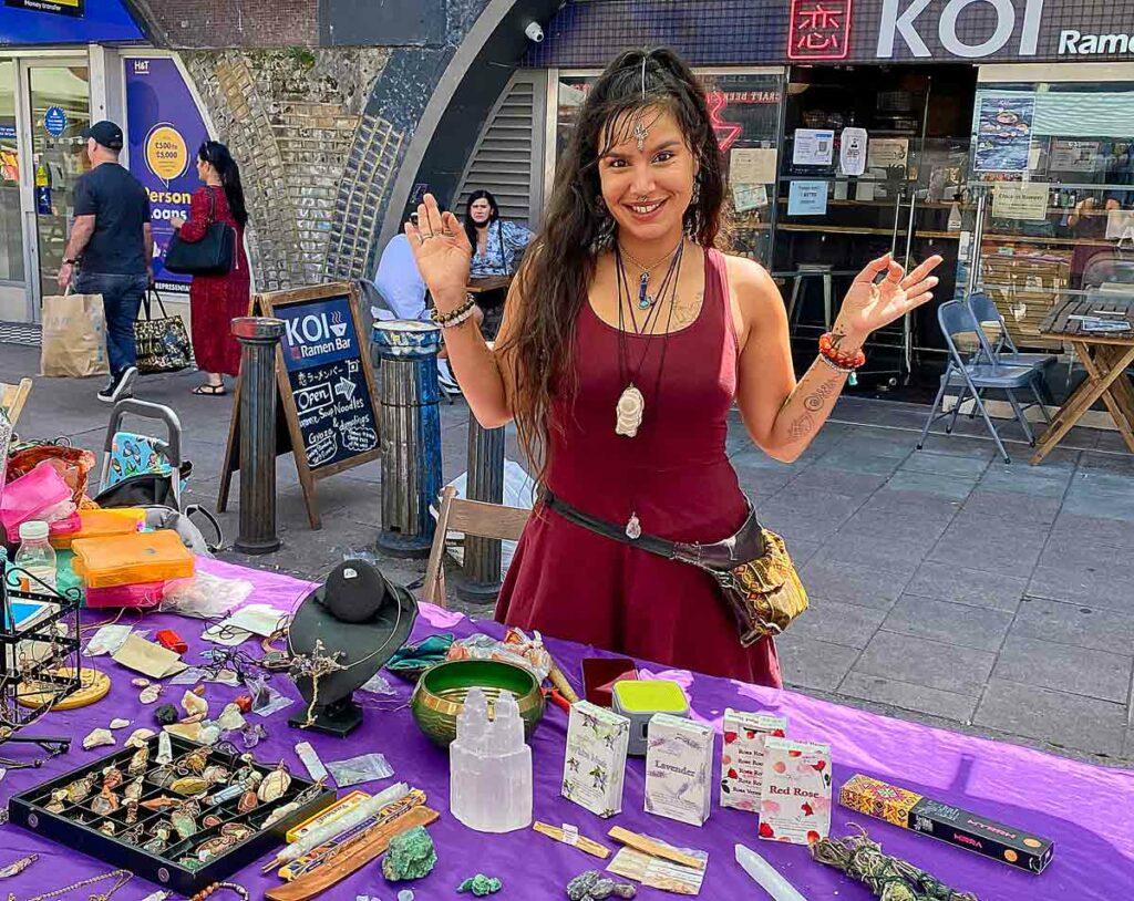 woman at market stall