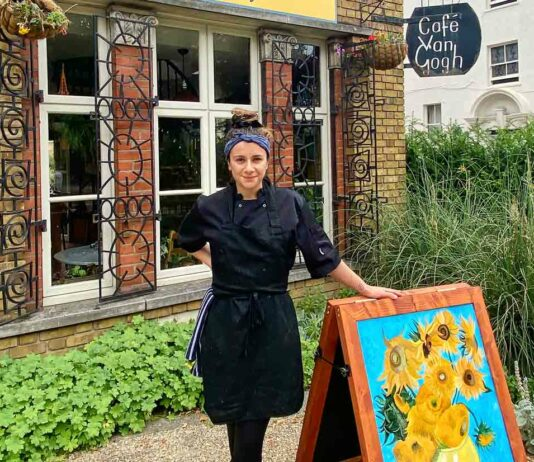 woman outside cafe