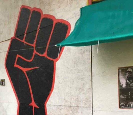 wall painting of black fist