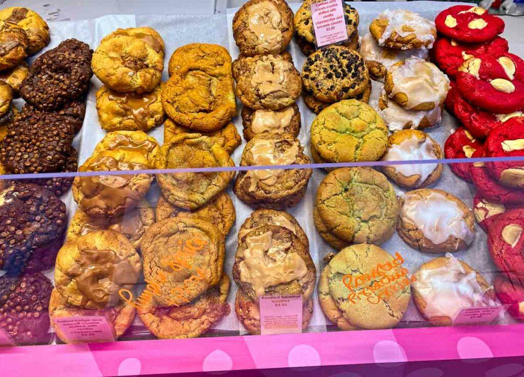cookies on display in shop